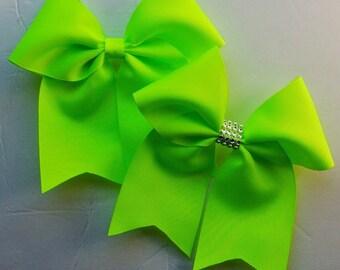 Softball Bows/Neon Lime Green Softball Hair Bows/Neon Lime Green Cheer Bows/Neon Lime Green Soccer Bows/Neon Lime Green Volleyball Bows