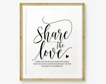 Wedding Snapchat sign Printable, Share the love Sign, Wedding Printable, Snapchat Filter Wedding Sign, Wedding Decor, gold sign, black sign