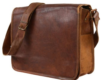 "Leather Handmade Designer J Wilson Bag Vintage Flap over 13"" Laptop Leather Tablet Case Messenger Bag GB104"