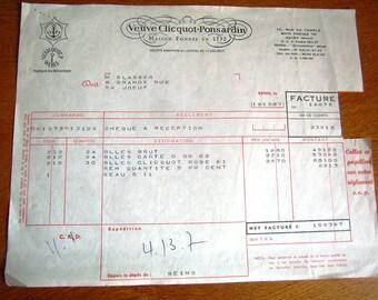 Original document in commercial matters, Ephemera, Collection, Bill Champagne Vve Clicquot, 1962