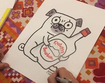 Signed Kentuggy Pug Kentucky Pug art print by Gemma Correll
