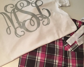 Matching Set - Pink/Grey Plaid Pajama Pants with Monogrammed Short Sleeve Tshirt! Youth and Adult Sizes Available!