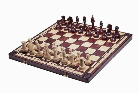 Brand new hand crafted tournament 8 wooden chess set 55cmx for Hand crafted chess set