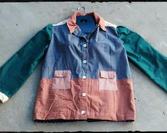 Retro 1970's Hippie Size 10 Patchwork Jacket