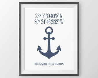 Personalized Latitude Longitude Sign Nautical Coordinates Decor Nautical Wall Decor Custom Address Sign Coordinates Print Housewarming Gift