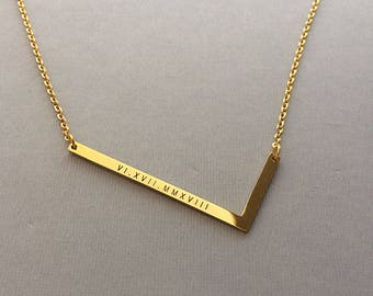 Oversize Letter Necklace - Large Letter Initial Necklace - Sideways Letter - Engraved Roman Numerals - Gold Plated Necklaces
