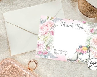 Digital Floral  Bunny Rabbit Thank You Note Cards - Printable,Download,Baby Shower,Birthday