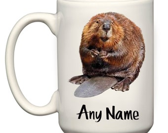Beaver Large El Grande 15oz Mug Cup Meme Gift Present Can Be Personalised With Any Name Text Or Message Cute Woodland Animal