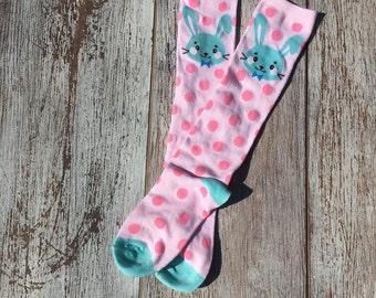 Easter bunny knee-high EASTER SOCKS, Girl's socks, Spring socks, Easter knee-high socks