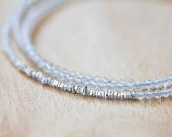 Crystal Quartz Bracelet with Fine Silver or Rose Gold Vermeil, Delicate Triple Wrap Bracelet, Clear Quartz Jewelry, April Birthstone