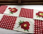 """Bright Wilendur TeaTowel Red with Poppies - """"Gingham Flower"""""""