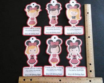 Minnie Mouse Paper favor bag tag--- Set of 12... Include a short message