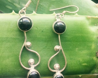 Moon drop Sterling silver earrings