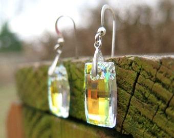 Swarovski Crystal Earrings, Iridescent Finish