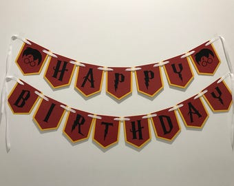Feliz cumpleaños Banner Harry Potter cumpleaños decoración fiesta Harry Potter Garland Harry Potter Harry Potter Harry Potter de regalo amarillo decoración marrón