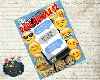 Printed Emoji invitations Emoticons invitations Customized invitations