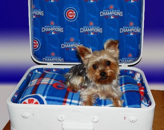 Re purposed New Custom Upcycled DOG or CAT suitcase pet bed 2016 Chicago Cubs Champions