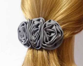 Glossy Satin Fabric Rose Decorated French Hair Barrette Handmade Flower Hair barrette Clip Women Hair Accessory