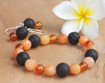 Natural stone orange bracelet, Natural stone jewelry, Bracelet earring set, Sterling silver, Beaded bracelet, Lava rock bracelet