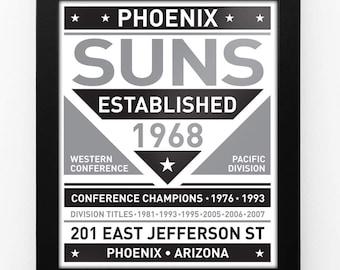 Phoenix Suns Black & White Modern Team Print Framed