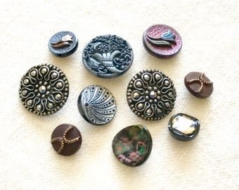 Art Deco Czech Glass Buttons Lot - 10 Glass Buttons Silver Gold Purple Red - Art Deco Lily Glass Button - Free Shipping Antique Glass Button
