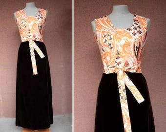 1960's Metallic and Velvet  Psychedelic Maxi Dress - Size S