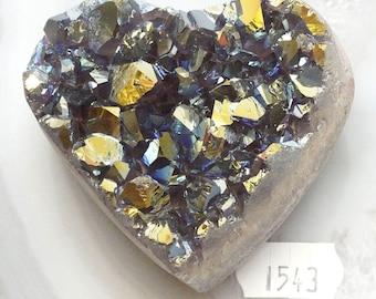 A-1543 Titanium Aura Quartz Crystal Heart 6.2 oz.