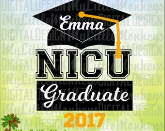 NICU Graduate, Grad Cap, Preemie Design Digital Clipart & Cut File Instant Download Full Color 300 dpi Jpeg, Png, SVG EPS Dxf Format