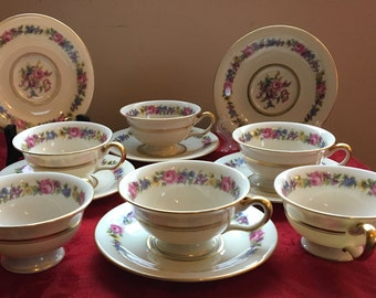 6 CASTLETON CHiNA MANOR Pattrern, Footed Cups and Saucers sets,