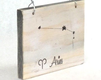 Aries Constellation Zodiac Sign - Reclaimed Wood Signs