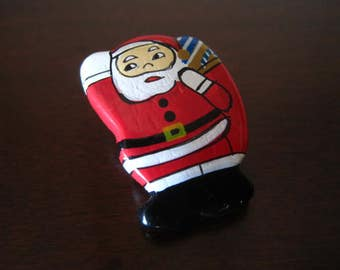 Painted Wooden Santa Button