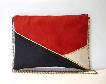 Pouch, shoulder bag black, red, beige