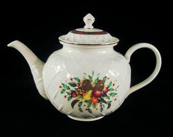 Lenox Holiday Tartan Carved Teapot & Lid Dimension Collection Dishwasher Safe