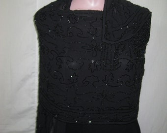 Black sequin and beaded shawl# 608