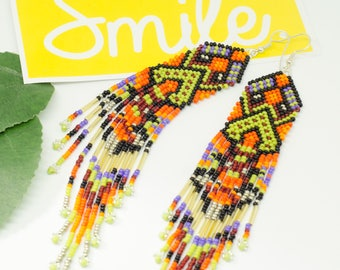 Beaded earrings with fringe, Native style