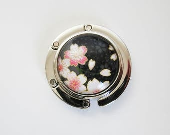 Foldable Purse Hook, Portable Handbag Hanger with Japanese Chiyogami Paper, Cherry Blossoms on Black