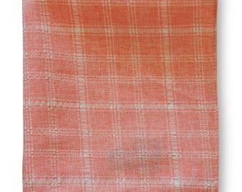 Frederick Thomas  peach pale orange and white check pocket square FT3356