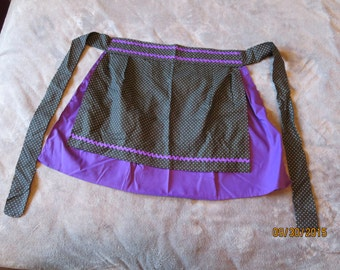 Purple and Black Polkadot Apron