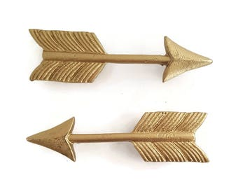 Pair of Gold Arrow Drawer Pulls (Slightly Imperfect)