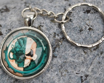 Warhammer Adeptus Mechanicus Keychain Key Ring in white metal