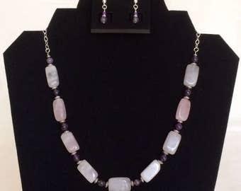Rose Quartz Bead Necklace Set Pink Quartz Necklace Pale Pink Beaded Necklace Set Pink Purple Amethyst Gemstone Necklace Rose Quartz Jewelry