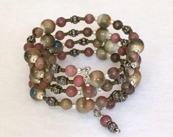 Gemstone Memory Wire Bracelet Wrap Bracelet Beaded Cuff Bracelet Bohemian Boho Multi Wrap Bracelet Bangle Layered Stacked Coiled Bracelet