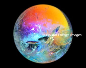 Crystal Ball Photo, 8x8 to 10x10, Underwater Fantasy,Spiritual Art, Energy Art, Healing Space ,Vibrant Art, Crystal Sacred Art,  Ethereal