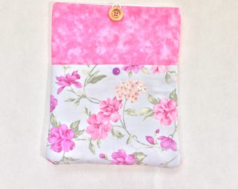 Purple  floral iPad /tablet case, fabric tablet sleeve, soft tablet case, padded tablet case, iPad cover