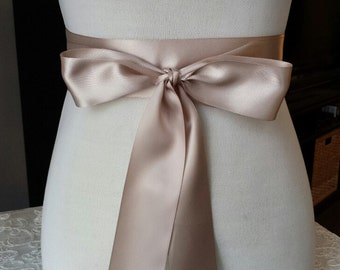 "2.25""  TAUPE  Satin Ribbon Sash, Double Faced"