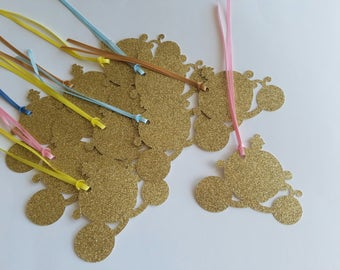Princess Coach Glitter Tag - Set of 10 - Handmade - Princess Party - Wedding - Napkin Ring - Bookmark