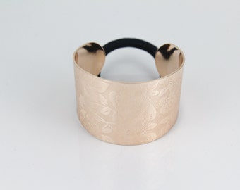 pale copper cuff ponytail holder metal genie cover flower floral print hair tie band circle wrap ring