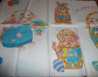 Wamsutta Happy Easter,Cat,Bear Appliques Fabric Panels