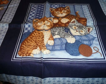2 Cranston Cat cotton Pillow Panels On Blue