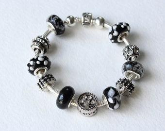 Genuine Pandora Bracelet  ~ FAMILY LOVE ~ with Black and White European Beads